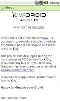 Screenshot of Kivadroid: Kiva on your Droid!