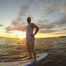 The Bearded Boarder by Jasper Meddock - Sports & Fitness Watersports ( sky, sunset, funny, manly, lake, sup, board, evening, mustache )