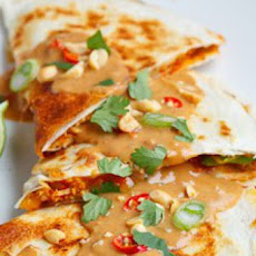 Spicy Peanut Chicken Quesadillas