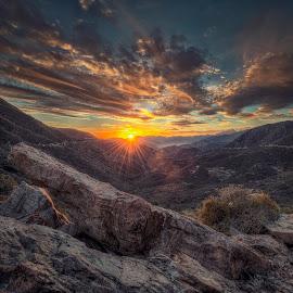 San Gabriel Sunset by Mike Hathenbruck - Landscapes Mountains & Hills ( hdr, nature, sunset, california, los angeles, landscape, san gabriels )