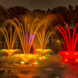 Tangüis Fountain by Maritere Izaguirre - City,  Street & Park  Fountains ( park, fountains, night, long exposure )