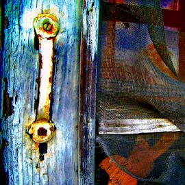 The Old Colorful Screen Door by Julie Dant - Buildings & Architecture Decaying & Abandoned ( screens, rusty, screen door handles, country door, rusted door handles, screen doors )