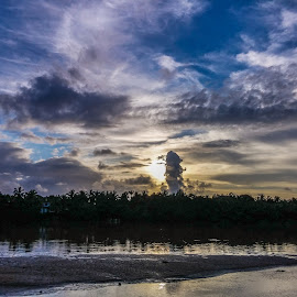 sunset by Azad Nechikkade - Instagram & Mobile Android ( water, sky, nature, sunset, cloud, evening )