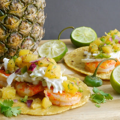 Shrimp Tacos with Grilled Pineapple-Jalapeno Salsa
