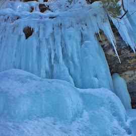 Ice Curtain by Ann Ashley - Landscapes Caves & Formations ( ice  curtain, frozen waterfall, blue, ice, waterfall,  )
