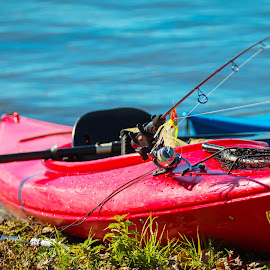 Time to go by Michael Wolfe - Transportation Boats ( fishing pole, lure, net, kayak, paddle,  )