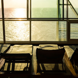 Liberty Loungers At Sunrise by Matt Meyers - Artistic Objects Furniture ( royal caribbean, sears trip, vacation, cruise ship, solarium, ocean, sunrise, ship trip, cruise, liberty of the seas )