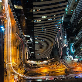 On The Ledge by Scott Lorenzo - City,  Street & Park  Skylines ( nightlight, tower, building, skyscraper, trail, night, cityscape, architecture, light, city, vertigo )