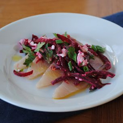 Hamachi with Beets and Horseradish
