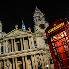 ST Pauls by David Kennedy - Travel Locations Landmarks ( landmark, st pauls, night photography, london, telephone booth )