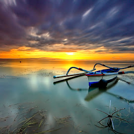 Cloudy Morning by Agus Eka Kurniawan - Transportation Boats ( bali, color, boats, sanur, cloudy, beach, landscape )