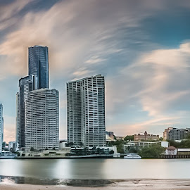 prequel to sunset by Yun Sheng Yip - Buildings & Architecture Office Buildings & Hotels ( skyline, queensland, reflection, australia, brisbane )