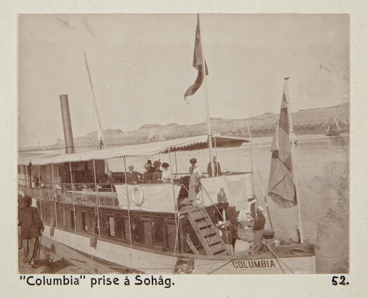 The party on board the SS Columbia. The flag at the fore was brought from Sweden by Walther von Hallwyl.
