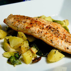 Pan Seared Trout w/ Roasted Brussels Sprouts & Potatoes