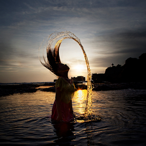 Back Light by Nyoman Sundra - People Fashion ( bali, splash, sunset, beach, tabanan, women )
