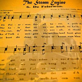 De Feierwon (1859) by Marco Bertamé - Typography Quotes & Sentences ( steam engine, song, railway, michel lentz, lines, notes, de feierwon )
