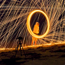 Light Painting 2 by José M. Ramos - Abstract Light Painting ( color, night, beach, painting, light )