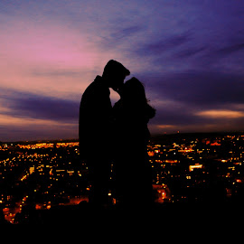 Romantic Night by Tyler McAndrew - People Couples ( kiss, shadow, romantic, dusk, city )