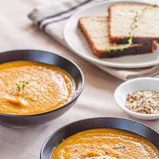 Carrot & Sweet Potato Soup with Hazelnut Dukkah