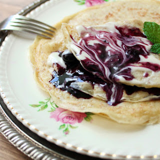 Whole Wheat Crepes With Blueberry Sauce and Maple Cream