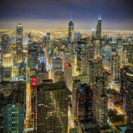 Shimmering Chicago by John Williams - City,  Street & Park  Night ( windy city, skyscrapers, night lights, arial view, cityscape, chicago, john hancock building, city, nightscape )