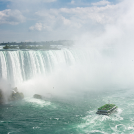 American Waterfall and Hornblower in Niagara Falls by Robert Machado - Landscapes Travel ( water, awe, constant, waterfalls, flowing, tourism, flow, attraction, destination, tourist, nature, niagara falls, awesome, cascade, falls, fall, impressive, niagara, natural )