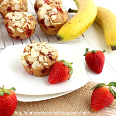 Strawberry Banana Oat Muffins with Almonds