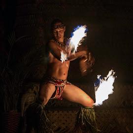 Hawaiian Fire Dancer  by Jacob Padrul - People Musicians & Entertainers ( fascinating, hawaiian entertainer, handsome, fire dancer, fire, dancer, hawaii )