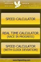 Screenshot of PIGEON RACING SPEED CALCULATOR