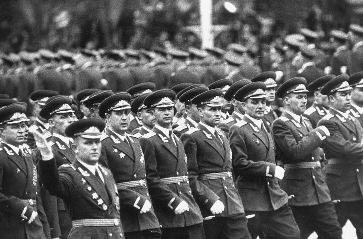 Russian Army Officers on parade at the May Day celebrations in 1958