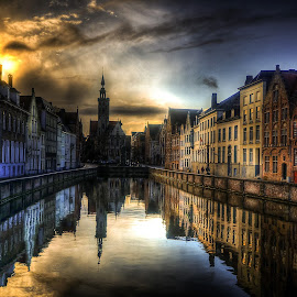 Brugge sunset reflections by Lorraine Paterson - City,  Street & Park  Historic Districts ( hdr, sunset, reflections, belgium, brugge, canal, photography )