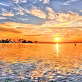Sunset over Albemarle Sound by Jim Zabroski - Digital Art Places ( hdr, albemarie sound, sunset, Earth, Light, Landscapes, Views,  )