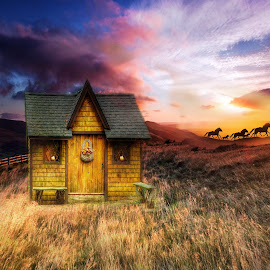 Beautiful Place by Wendy Milne - Digital Art Places ( field, sky, horses, sunset, cottge )