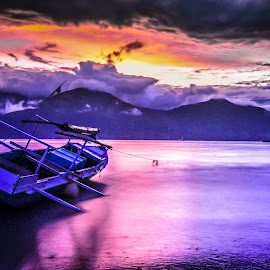 boat and sunset by Dedik Dwi Nugroho - Transportation Boats
