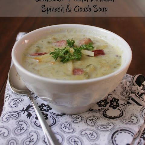 Slowcooker Potato, Kielbasa and Spinach Soup with Gouda