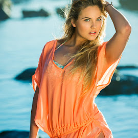 Shannon by Michael MacLachlan - People Fashion ( model, swimwear, vivid, blond, shannon, shimleit, beach, colours )