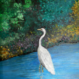 Great White Egret by Rhonda Lee - Painting All Painting ( bird, bird white, nature, impressionist, art, landscape, pretty, painting, egret, oil )