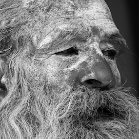 Sanyasi by Abhishek Mandal - Uncategorized All Uncategorized ( look, face, monk, peaceful, ritual, black and white, indian, hinduism, portrait, eyes, hindu, peace, sanyasi, black,  )