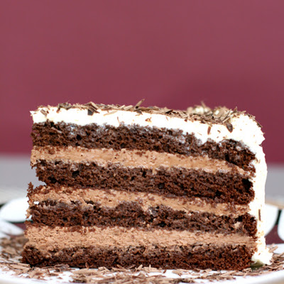Chocolate Layer-Mousse Cake with Cognac and Bittersweet Chocolate Curls