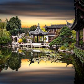 DR. Sun Yat-Sen Classical Chinese Garden by Xavier Wiechers - City,  Street & Park  City Parks ( reflection, classical, pagoda, sun yat-sen, garden, chinese, susnset )