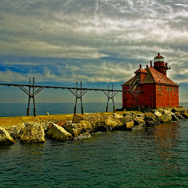About to Light by John Kehoe - Buildings & Architecture Other Exteriors ( sturgeon, bay, coastguard, lighthouse, coast )