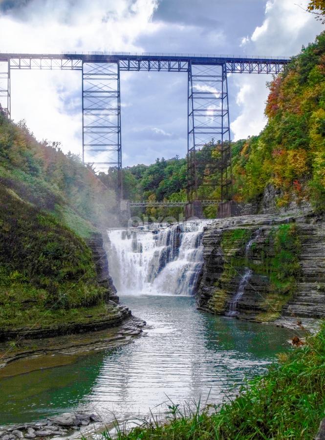 Upper Falls & Trestle by Cynthia Potter Nichols - Landscapes Waterscapes ( upper falls, waterscape, train trestle, letchworth state park, landscape )