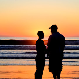 Sunset Silhouette by Allen Randall - People Couples ( sunset, silhouette )