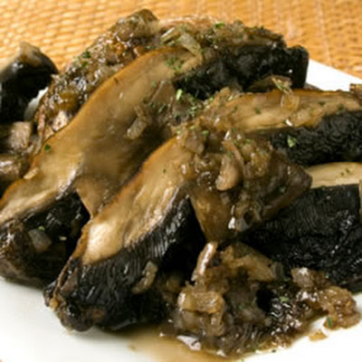 Grilled Portobellos Sauteed in Wine