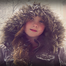Playin with my new camera its not easy takin pictures when snow is pounding ya... but my baby girl is beautiful by Tracy Simon-Sinex - People Family