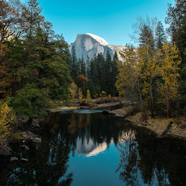 Half Dome on the Merced by Michael Holser - Landscapes Mountains & Hills ( half dome, yosemite, california, merced )