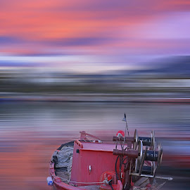 Fine Art by Teodora Ivanova - Digital Art Places ( ship, sunset, boats, fine art, sea )