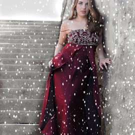 Snow Princess by Stefanie Jones - Digital Art People ( glamour, fashion, model, winter, modeling, snow, castle, red dress )