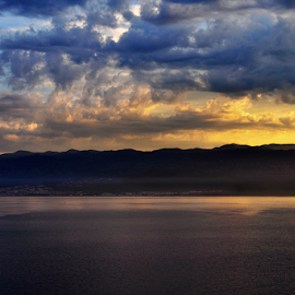 Velebitski kanal by Miro Cindrić - Landscapes Cloud Formations ( clouds, mountains, dawn, sea channel, morning )