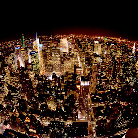 City on Fire by Hillary Zinks - City,  Street & Park  Skylines ( love, skyline, city lights, manhattan, nyc, ny )